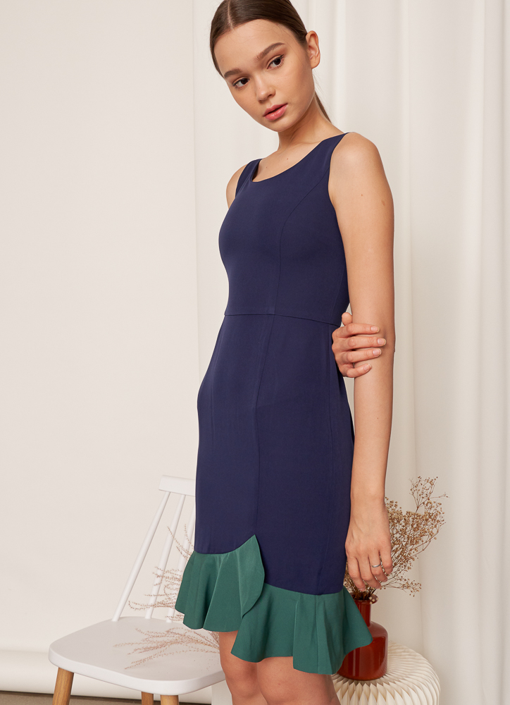 DAPHNE Ruffles Hem Dress in Navy