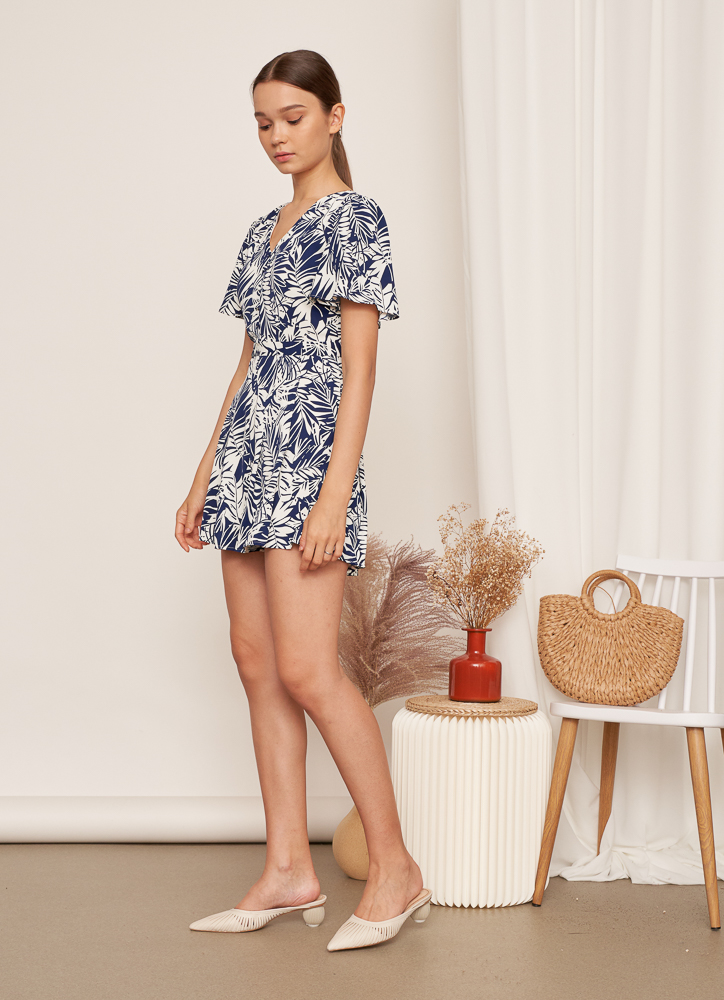 BEVERLY Floral Romper in Navy