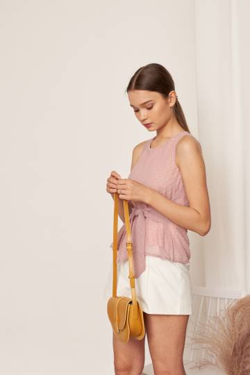 CELESTE Tie front Top in Blush, By LVG
