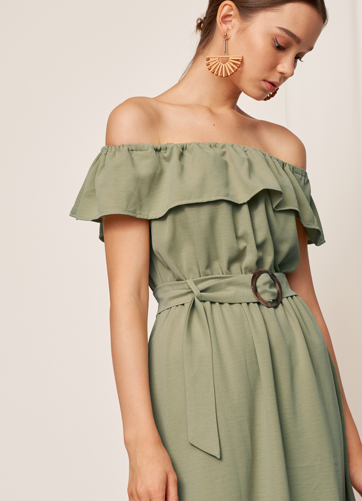 LEORA Off Shoulder Dress in Sage Green, By LVG