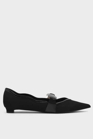 Clear Bow Textured Mary Jane Flats