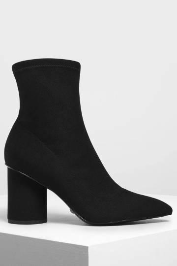 Sculptural Heel Corduroy Zip-Up Ankle Boots