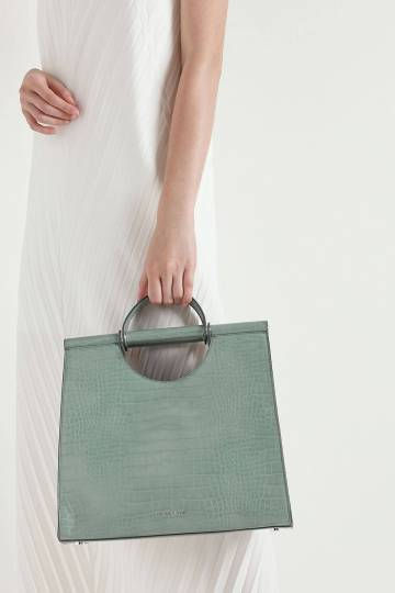 Croc-Effect Double Top Handle Structured Tote