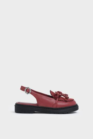 Girls' Scallop Detail Ribbon Tie Slingback Flats