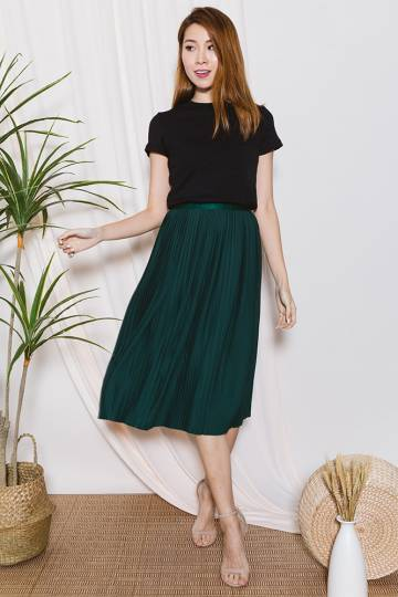 ALANIS Pleated Skirt (Forest Green)