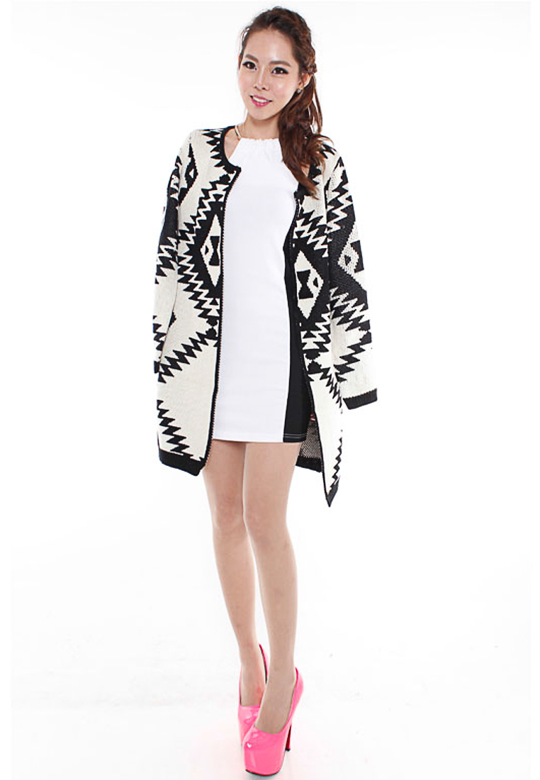 ff98119fd7 From ZALORA Singapore · Geometric Abstract Knit Cardigan.