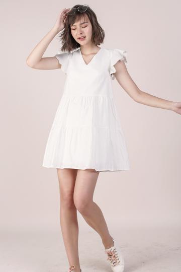 Kyra Linen Tiered Dress (White)