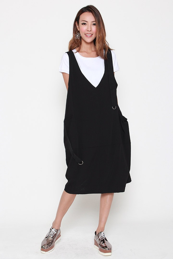 Hilly 2 in 1 Pinafore Dress Set in Black White