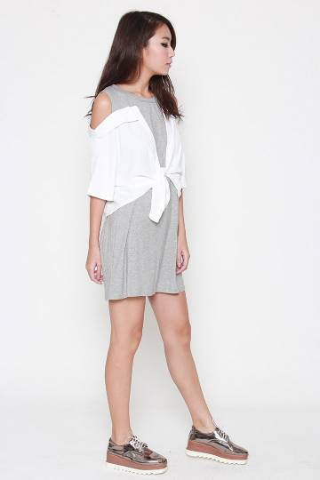 Valentine Cold Shoulder Dress in Grey White