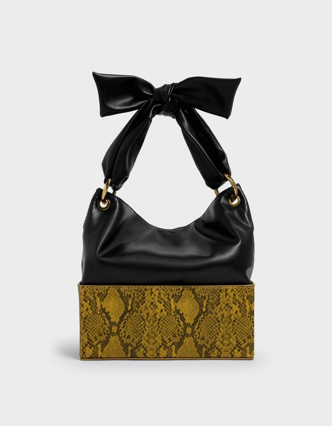 Snake Print Knotted Shoulder Bag