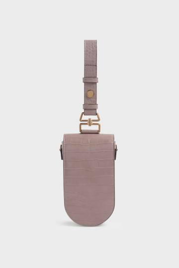Croc-Effect Long Pouch