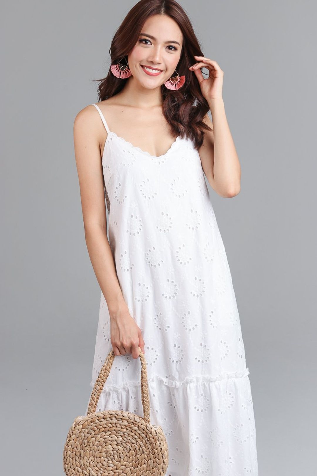 Tilda Eyelet Midi Dress in White