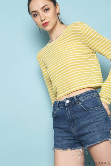 Jamie Stripe Knit Top Lime