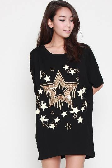 Aikra Sequinned Star Dress in Black Gold