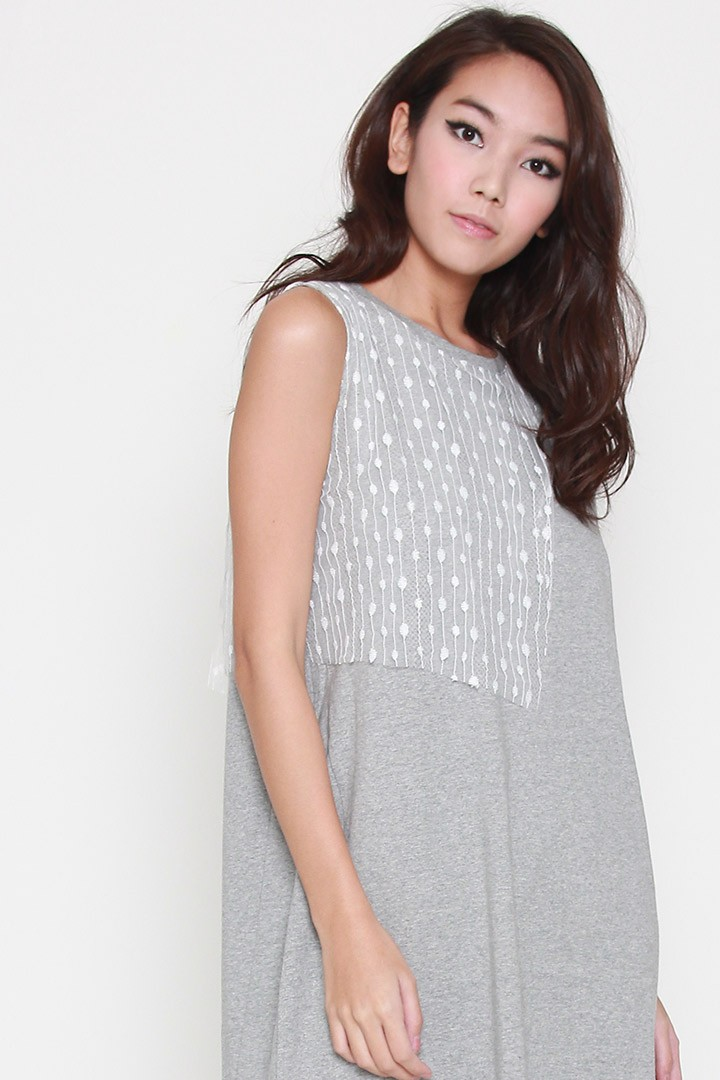 Peter Lace Dress in Grey White