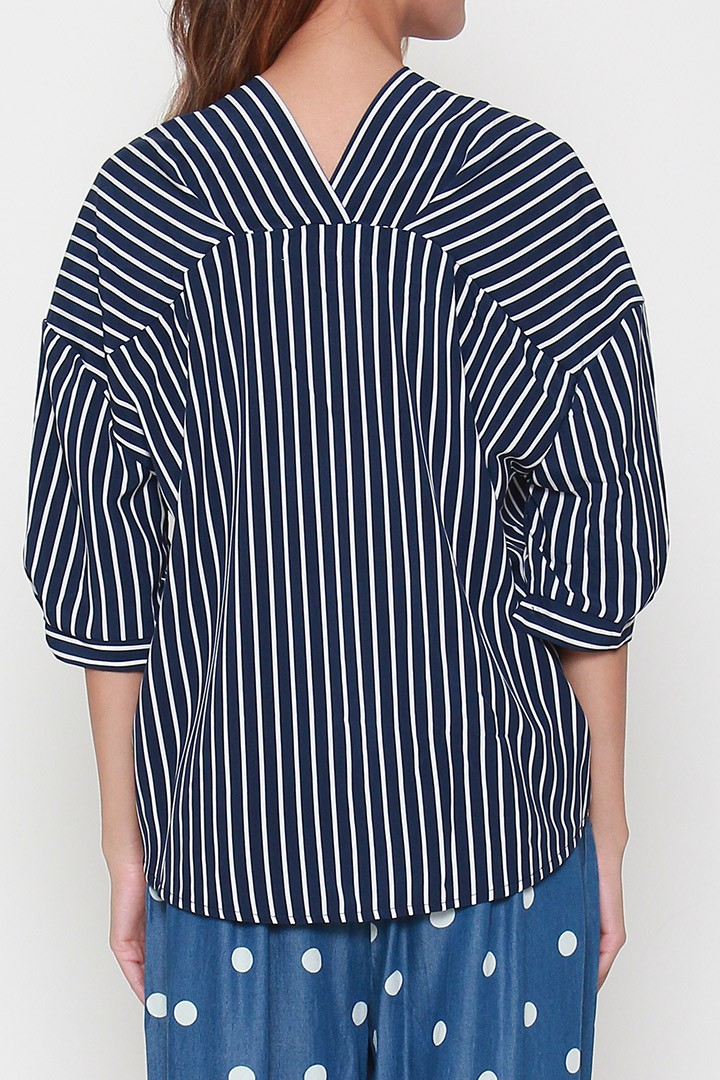 Baseball Shirt in Blue Stripes