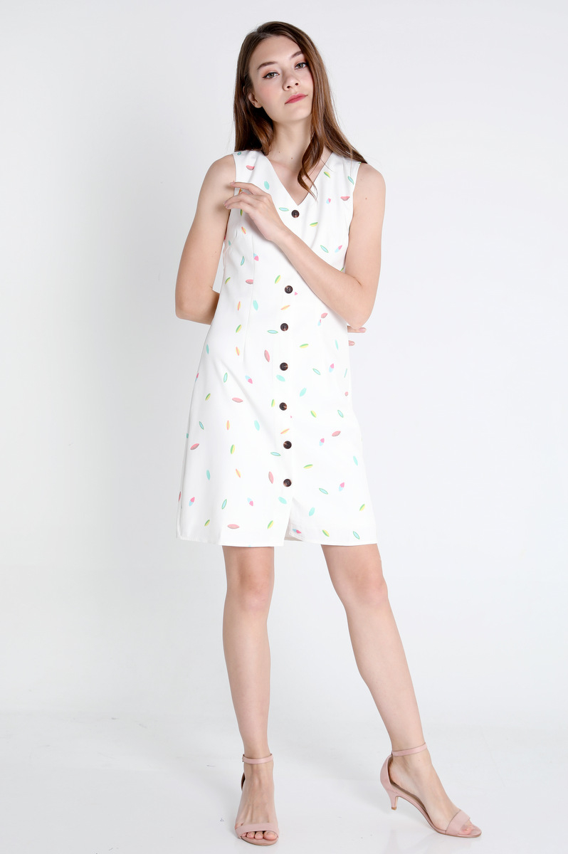 Confetti A-Line Dress (White)