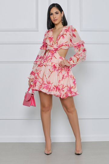 In The Moment Floral Cut Out Mini Dress (Pink Floral)