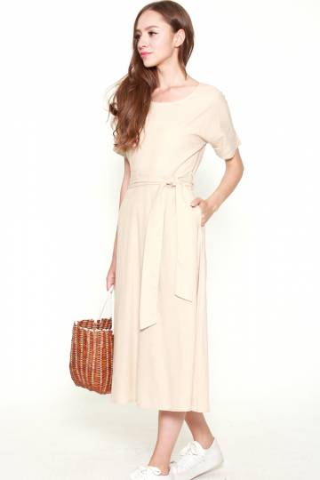 9434 SHORT SLEEVED MAXI DRESS WITH TIE BELT