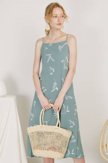 Sanctuary Button Sides Dress (Sage Floral)