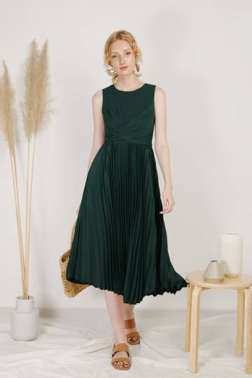 DIVINE Wrap Front Pleated Dress (Forest)