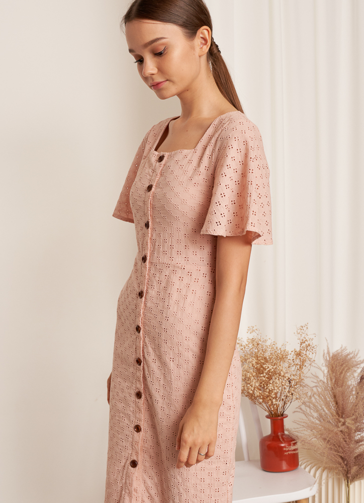 Patrice Broderie Dress in Blush
