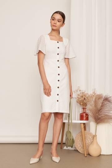 Patrice Broderie Dress in White
