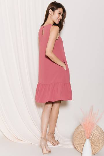 Raine Reversible Flounce Dress (Black/Tea Rose)
