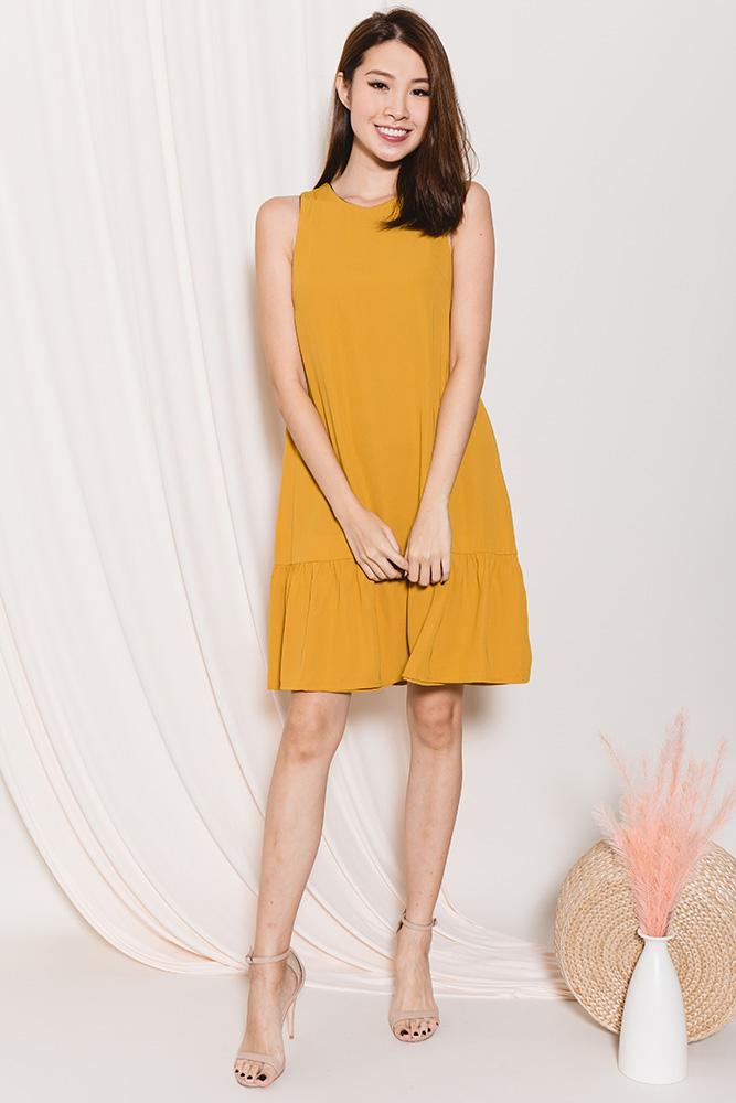 Raine Reversible Flounce Dress (Navy/Honey)