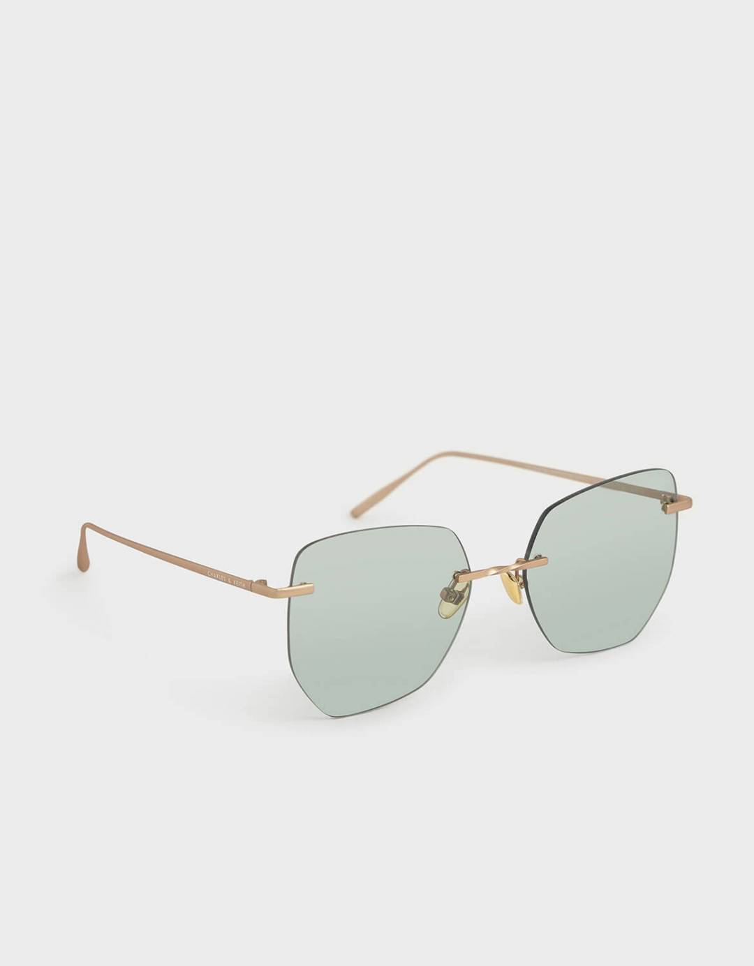 Rimless Geometric Sunglasses