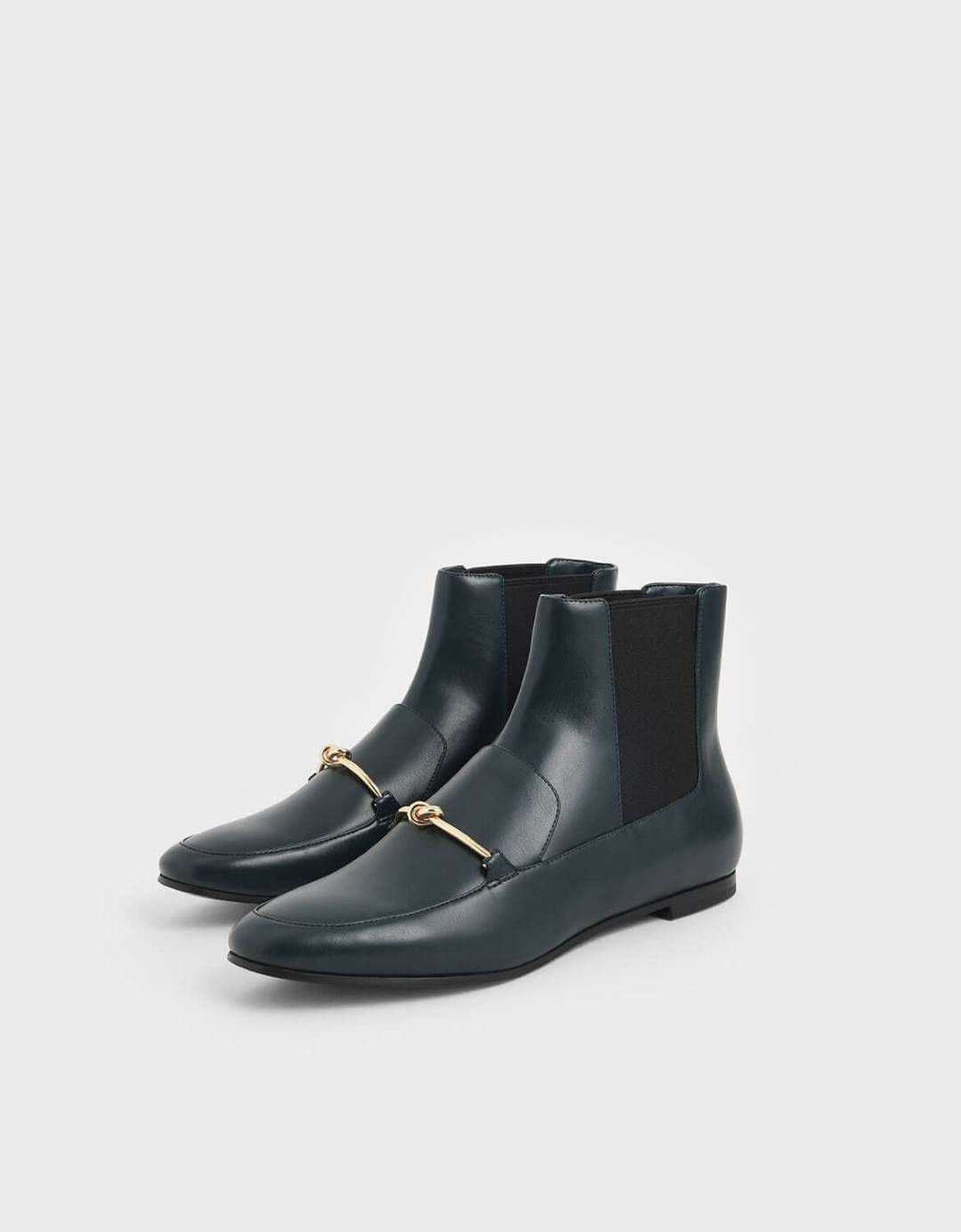 Metallic Knot Accent Chelsea Boots