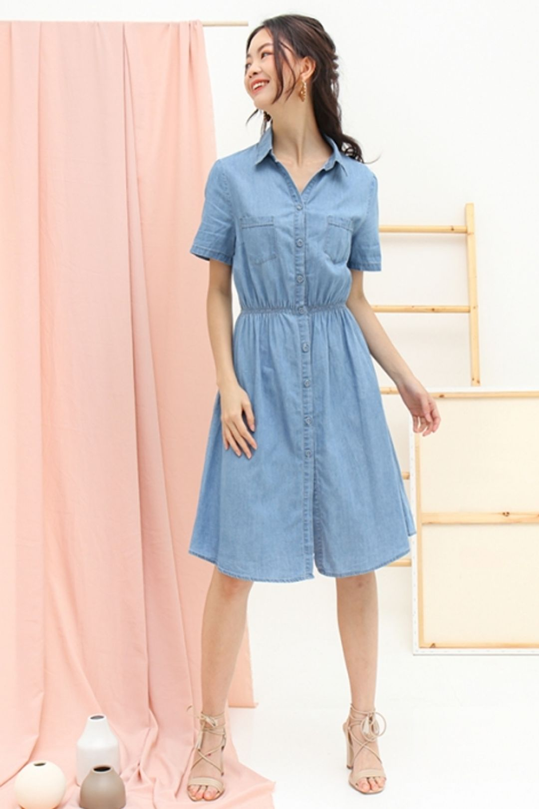 Celebratory Dance Denim Button Shirt Dress