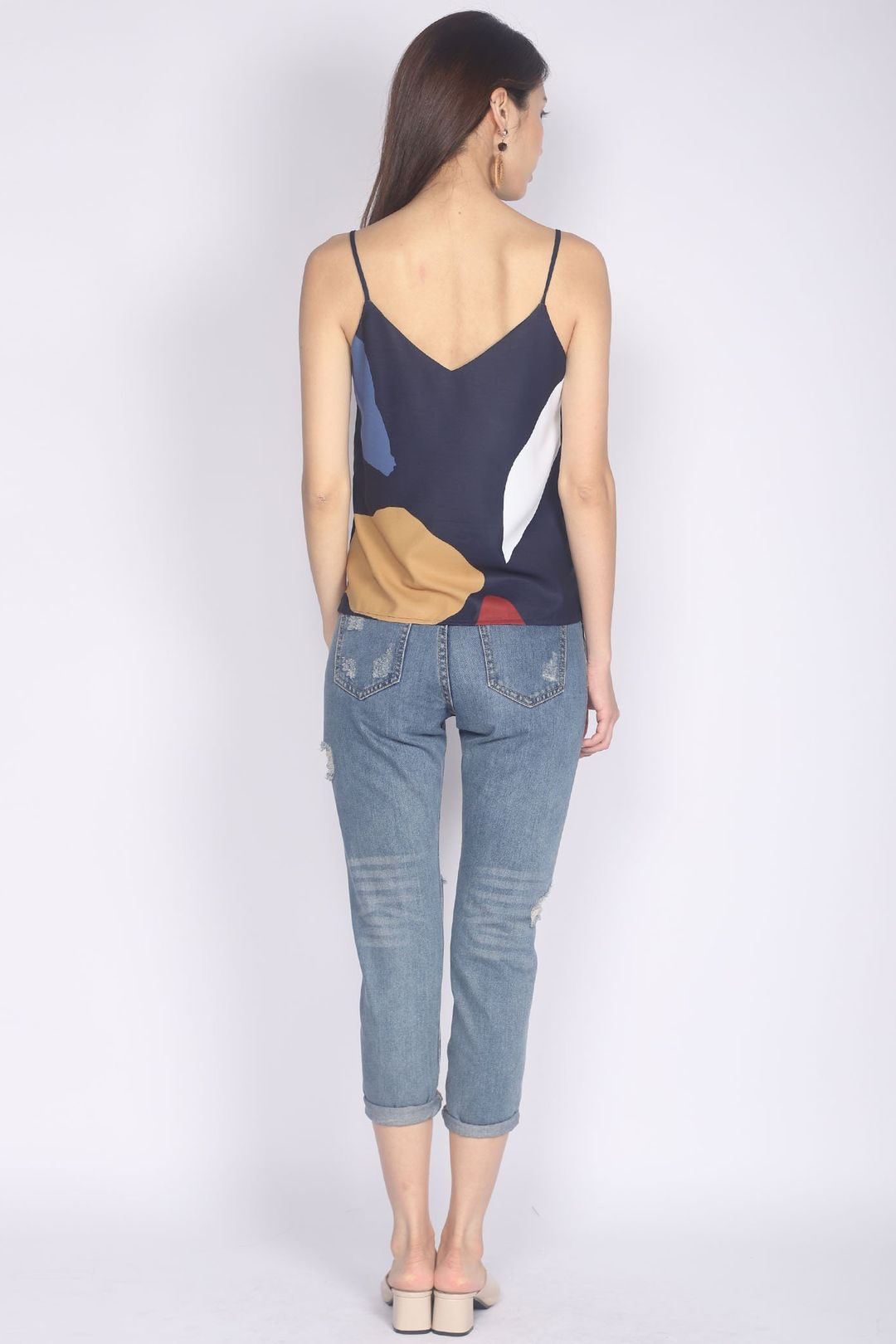 *Restocked* Mariot Abstract Camisole Top In Navy Blue