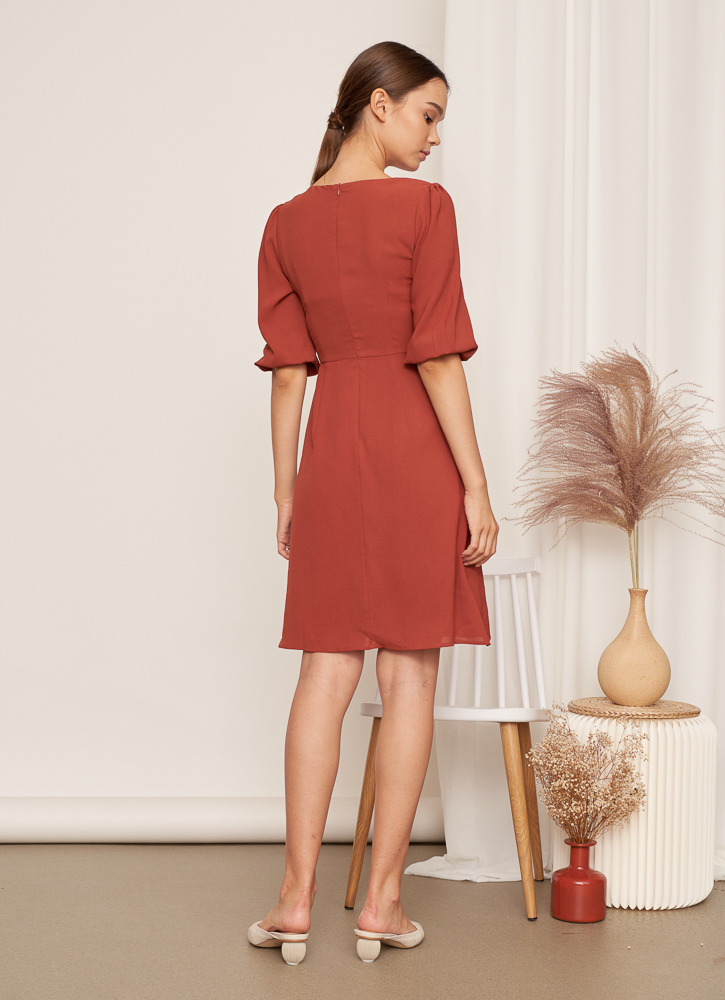 NARELLE Tie Knot Dress in Rust, By LVG