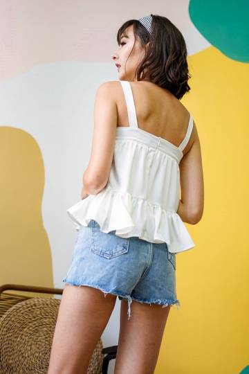 MIRIA BABYDOLL DROPWAIST TOP #MADEBYLOVET (WHITE)