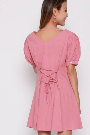 Last Chance - Norah Drawstring Dress in Pink
