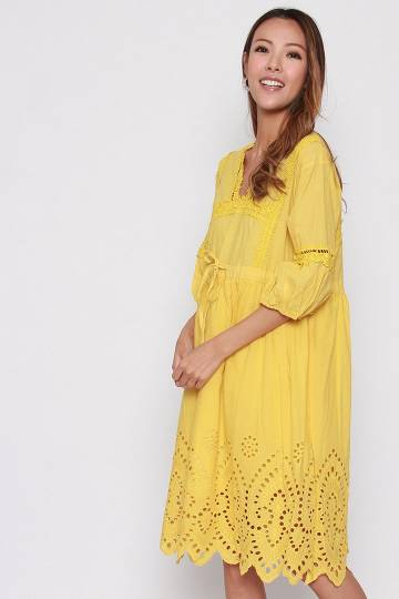 Caria Embroidery Dress in Yellow