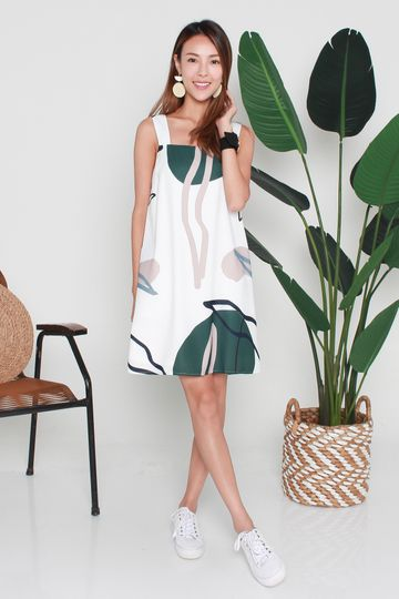 *BACKORDER* Trixie Abstract Prints Dress In White