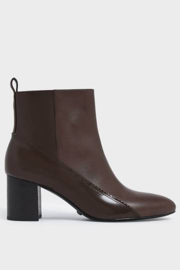 Zigzag Detail Zip-Up Leather Ankle Boots