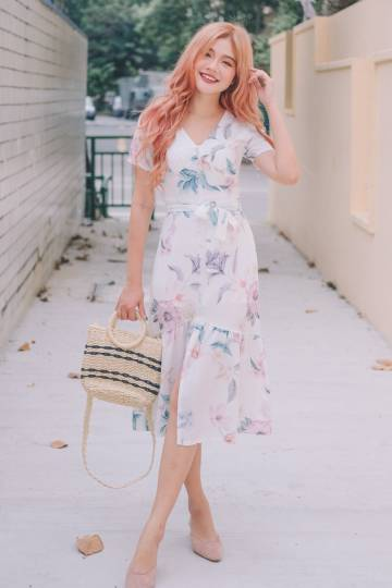 Eve Floral Midi Dress in White