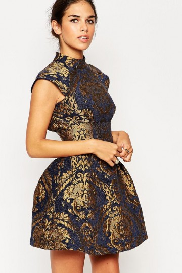 bb53905ad7 ... Chi Chi London Petite High Neck Baroque Print Structured Skater With  Open Back ...