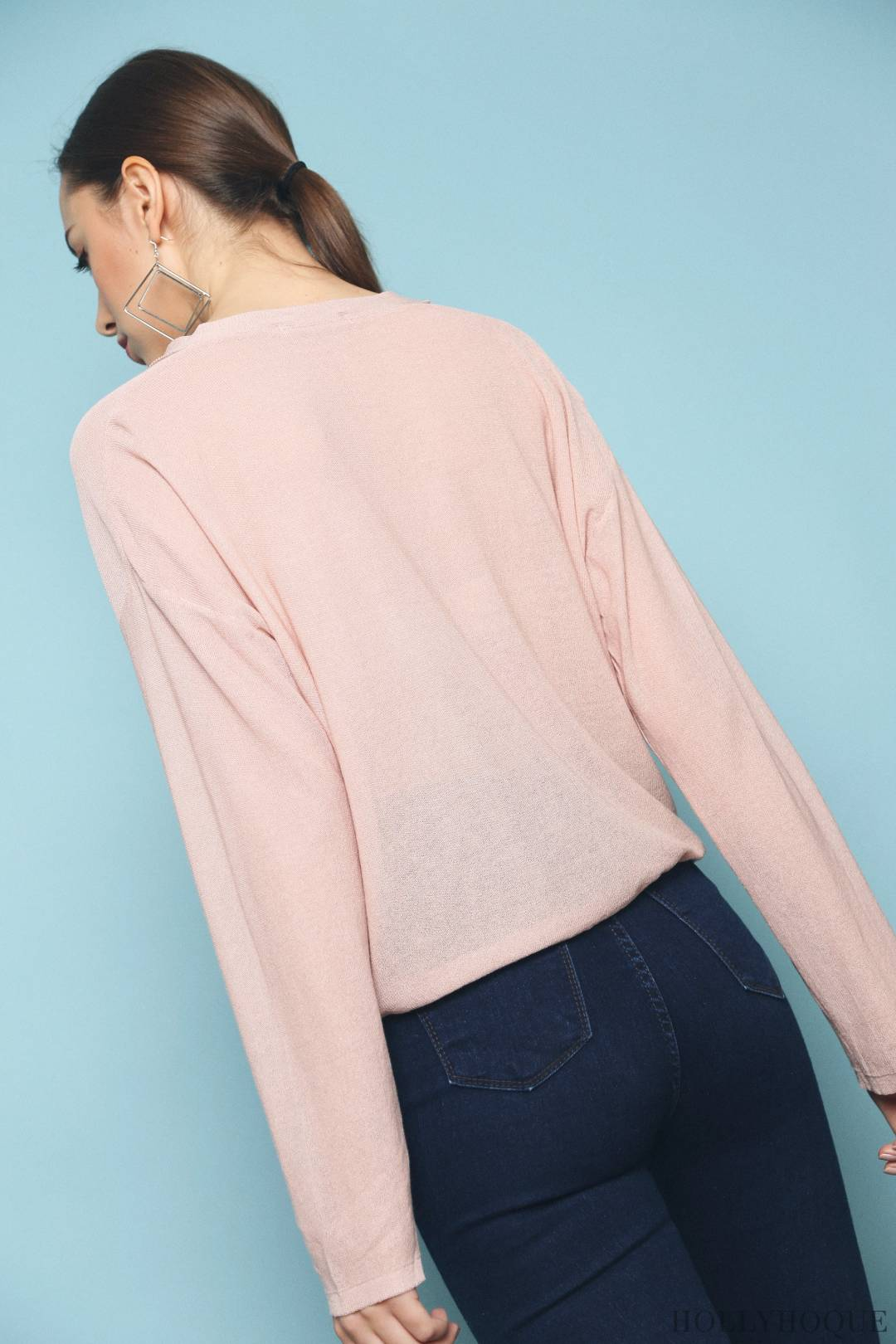 Tracy Sheer Knit Cardigan Dust Pink