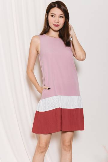 *MadeByFB* Siona Colour Block Micro Pleats Dress (Pink/Burnt Brick)