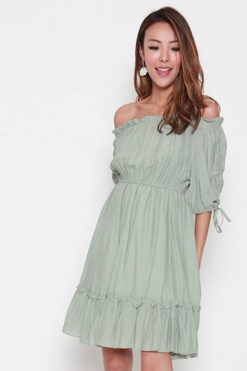 Miley Off Shoulder Dress in Mint Green