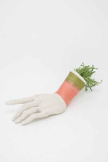 Ceramic Hand Sculpture in Green & Coral Thread