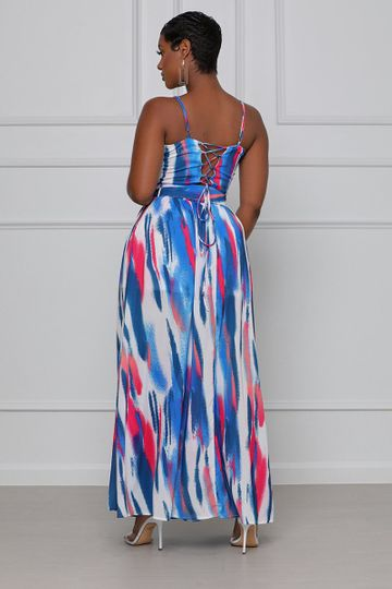 Check Me Out Maxi Skirt Set (Blue & Pink)