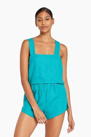 Tallows Crop Top - EcoLinen Turquoise