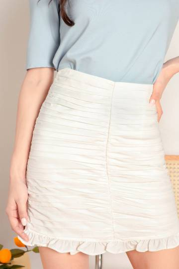 Restock* Rochelle Pleated Skirt (White)