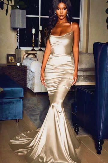 Serena Draped Neck Gown- Champagne