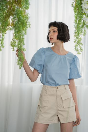 Abbey Puffed Sleeves Top in Baby Blue